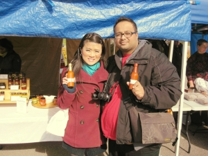 From Alphonsa's Gourmet, Raj picked up their Fiery Hot chili sauce and I picked up their Mango Pepper chili sauce. Happy customers!