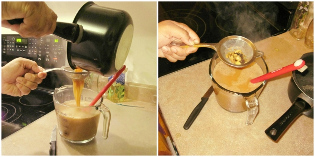 Pour mixture through a sieve and strain out the spices and tea bags.