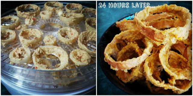 "I set the dehydrator temperature very low at 110°F to keep the onions ""raw"" for raw foodists, who can also substitute the Sunflower Kitchen HUMMUS + with raw hummus. If you want to lower the dehydration time significantly from 24 hours, you can increase the temperature to 150°F-160°F and this should cut the time in half (about 12 hours)."