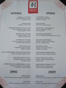 The appetizer menu.